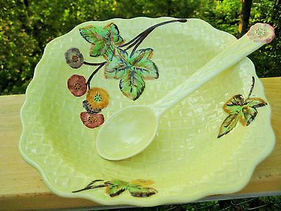 ANTIQUE/VINTAGE ENGLISH MAJOLICA SALAD BOWL AND SPOON SHORTER & SONS STAFF.c1930