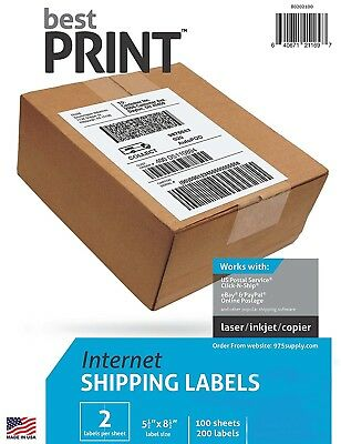 "Premium Best Print ® 200 Labels Half Sheet 8.5 x 5"" 2 Per Sheet 80202100"