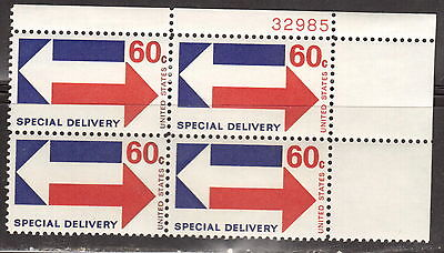 #E23 1971 60-cent Arrows Special Delivery block of 4 with plate# MNH