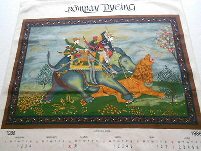 vintage bombay dyeing &co cloth calendar 1986