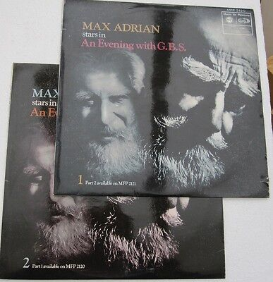 Max Adrian An Evening With George Bernard Shaw Ex Con LP Record Vol 1 & Vol 2