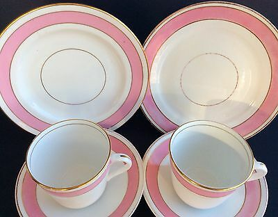 Vintage Antique Tea Set Duo Plate Cup Saucer Pink White Gold Bone China