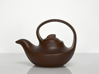 Superb Vintage Chinese Yixing Zisha Slim Boat Form Purple Clay Teapot with Mark