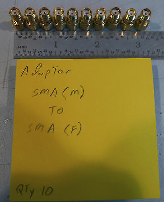 (10) SMA (Male) to SMA (Female) Gold Adapters