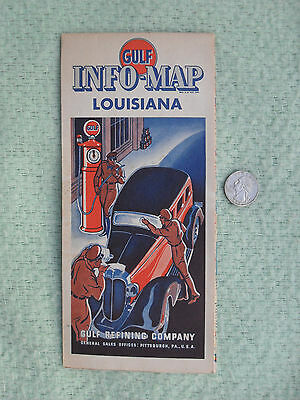 1935 Gulf Oil Refining Co Road Map Louisiana Advertising Vibrant Clean Minty