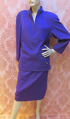 VINTAGE 1980s *GUCCI Italy VIOLET WOOL JERSEY SKIRT SUIT w/TUNIC* Sz-40  $29.99