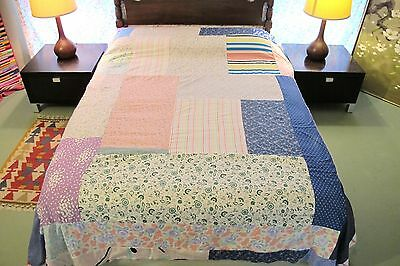 "Vintage Hand Sewn Quilt TOP Printed Cotton Rectangles, Some Feed Sack; 94"" x 88"""