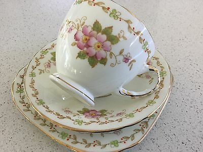 Sutherland Bone China Trio Made In England Beautiful Old Trio Ornate Cup Handle