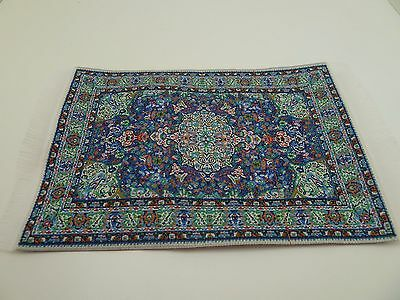 Dolls House Miniature 1:12th Scale Flooring Small Blue Pattern Rug (D698B)