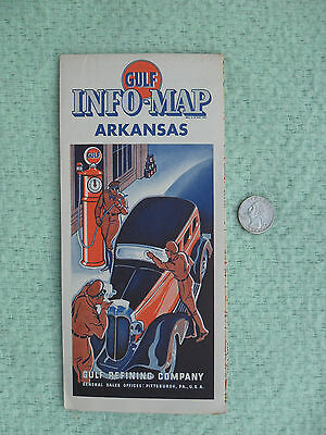 1935 Gulf Oil Refining Co Road Map Arkansas Advertising Vibrant Clean Minty
