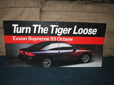"1990's Exxon "" Turn the Tiger loose"" 93 Supreme Gas Paper Sign 26 X 12 inches"