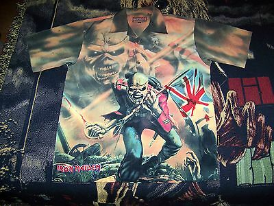 NEW Iron Maiden THE TROOPER Dragonfly Button Dress Collar Bowling Shirt M Rare