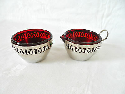 Vintage  Chrome And  Ruby  Glass  Jug And  Bowl
