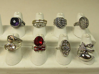 Silver tone costume Jewelry Ring Lot Rope Twist Texture Sparkle Statement AS IS