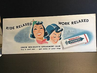 Vintage Wrigley's Gum Bus Or Subway Sign Circa 1940s