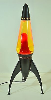 "19"" STARSHIP Rocket LAVA LAMP Light Black Yellow Red Atomic Space Age"