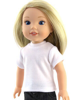 CUSTOM for Wellie Wishers AG 14.5 in doll PURPLE T Shirt American girl