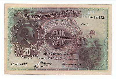 Portugal 20 Escudos 1927 Pick 122 Look Scans
