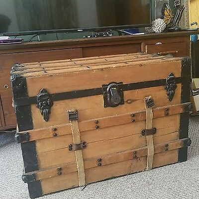 Antique Steamer Trunk Coffee Table Flat Top