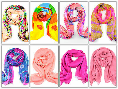 Womens Fashion Print Floral Long Scarf Wrap Lady Large Shawl Chiffon Silk Scarf