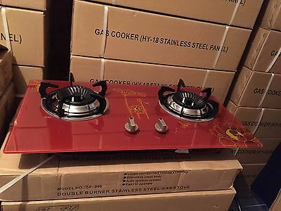 Brand new glass panel two burner  LPG gas stove or cook top