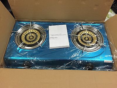 Brand new double burner stainless steel LPG gas stove Or cooktop