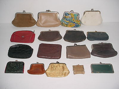 Vintage Lot 16 Leather Metal & Beaded Coin Change Purses