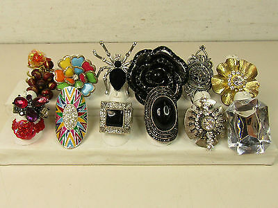 Costume Jewelry Ring Lot Stretch Large Statement Beads Flowers AS IS