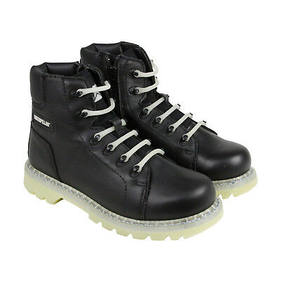 CAT Glow Mens Black Leather Casual Dress Zip Up Boots Shoes