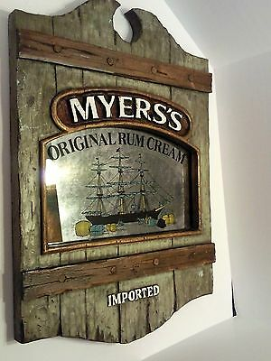 """Myers's Imported Rum Cream Bar Wall Sign Styrofoam / Mirror Glass 25"""" X 17.5"""""""