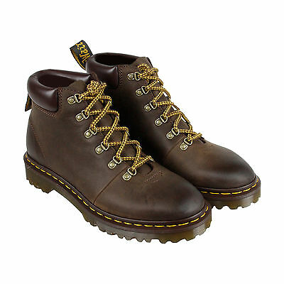 Dr. Martens Elmer Mens Brown Leather Lace Up Boots Shoes UK 8