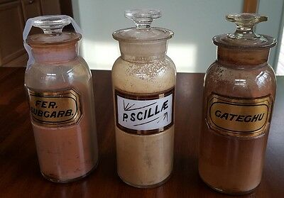 Lot of 3 antique pharmacy apothecary 8 in. LUG bottles: 2 GOLD label