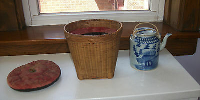 Chinese Export Blue and White Teapot with basket warmer Circa 1890s
