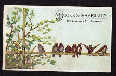 Baltimore Maryland*md*moore's Pharmacy*131 Lexington St*embossed Trade Card