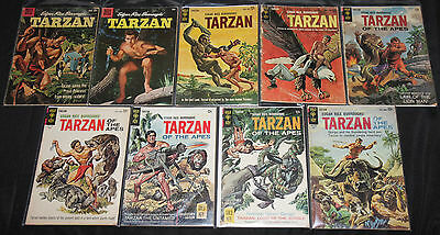 Dell/Gold Key Gold-Bronze TARZAN DAGGAR MIGHTY SAMPSOM 63pc Comic Lot Grade FN+