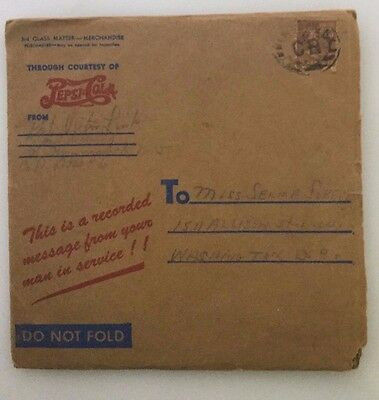 "2-1944 World War 2 Pepsi Cola ""Your Man In Service"" Record with mailers CPHOTOS"
