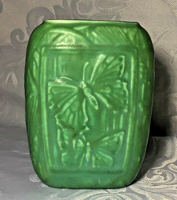 Rookwood 1935 Green Bird and Butterfly Vase #6350
