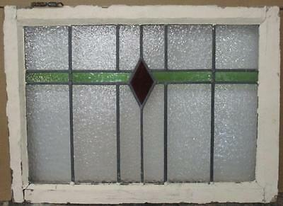 """MID SIZED OLD ENGLISH LEADED STAINED GLASS WINDOW Simple Diamond 27.75"""" x 20"""""""
