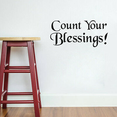 Count Your Blessings Inspirational Decal Wall Decor Quote Vinyl Art Sticker