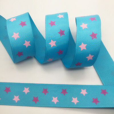 NEW~ 5 Yards 1Inch 25mm Wide Printed Grosgrain Ribbon Hair Bow DIY Sewing #A082