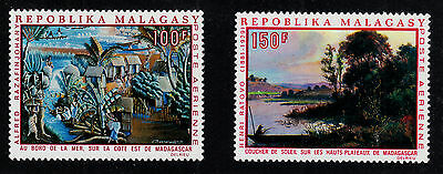 MALAGASY REPUBLIC C93 and C94 Mint Light Hinge 1969 JUMBO ART Painting Type