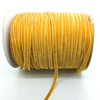 New 5 yds 6mm Wide Yellow Velvet Ribbon Vintage Headband Clips Bow Decoration