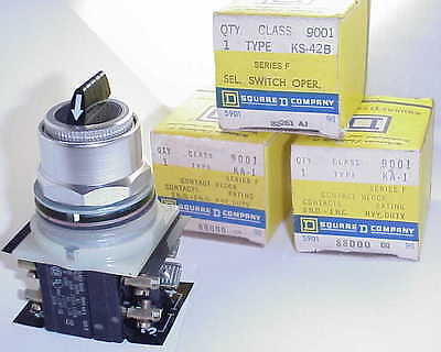 Square D 9001 Ks42B 3 Position Maint. Selector Switch W/2 Ka1 Cont.  Blocks- New