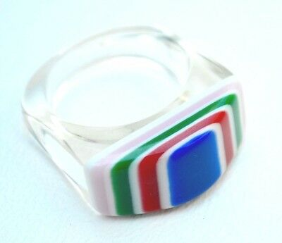 Vintage Lucite Rainbow multi color and clear ring - bakelite deco era SIZE 8