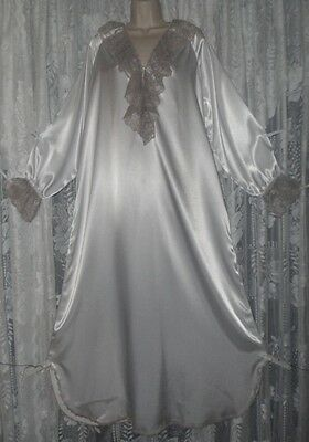 Vtg JENELLE BRIDAL SATIN Nightgown Negligee Gown FANCY Taupe Pink Lace NWOT M L+