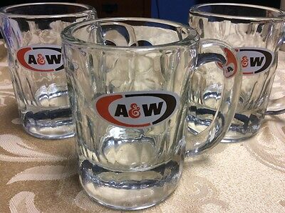 """(3) A & W ROOT BEER Vintage Heavy Clear Restaurant Mugs with Logo 4 1/4"""" Tall"""
