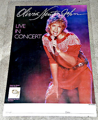 OLIVIA NEWTON-JOHN 1982 Physical Concert Tour Poster w/Venue Banner! 24x36