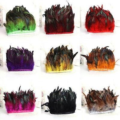 Hackle Rooster Feather Fringe trim 1 to 10 M Craft Sewing Costume Millinery