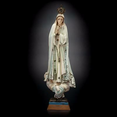 "18"" Vintage Beautiful Our Lady of Fatima Statue Virgin Mary Glass Eyes"