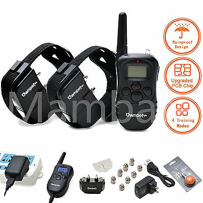 330 Yard Electric Rechargeable LCD Remote 100 LV 2 Pet Dog Shock Training Collar